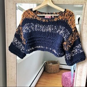 Hand Knit by Dollie ANTHRO knit crop sweater 238A